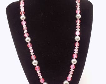 Necklace - silver, pink and white beads
