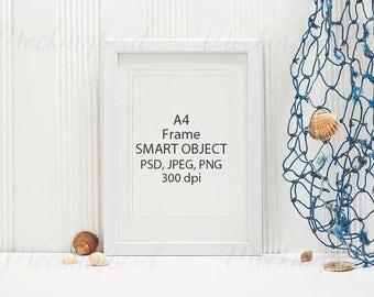 Seaside frame mockup, white nautical mockup poster, A4, PNG JPG PSD smart object, digital frame, frame clipart, styled stock, white room
