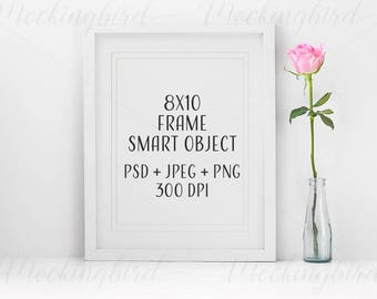 8x10 White Mockup Frame Portrait rose JPEG PNG PSD smart object Digital Empty floral Template Mock Up Picture Photo Display Vertical flowers