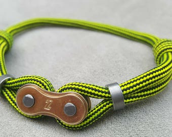Bracelet Paracord color bike chain charm yellow gold