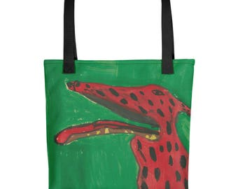 Red Dog with Spots - Amazingly beautiful full color tote bag with black handle featuring children's donated artwork.