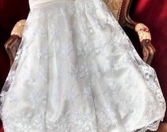 Flowergirl dress/Bridesmaid Dress/Wedding/White Lace Dress/Princess Dress/Girls Dress