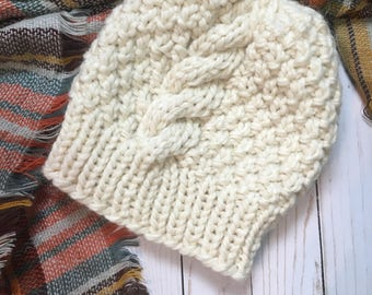 Ready To Ship:CHUNKY CABLE knit Beanie-White