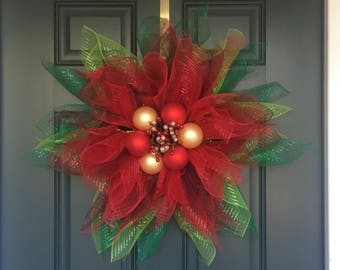 Poinsettia Mesh Christmas Wreath