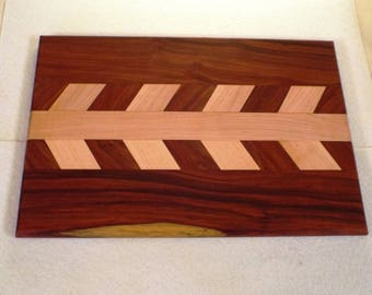 Handcrafted Padauk and Maple  Cutting Board