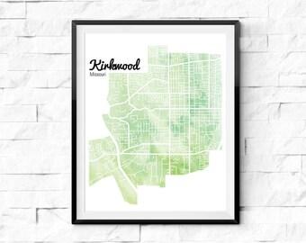 Kirkwood Missouri Map. Watercolor Map. Art Print. St Louis Map. Housewarming Gift. Neighborhood Map. Map Wall Art. Watercolor Art Print.