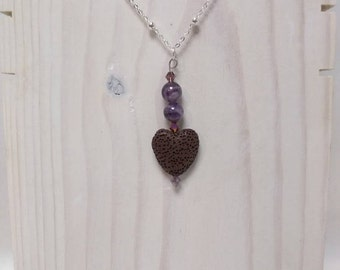 Essential Oil Diffuser Necklace of a Lava Rock Heart, Amethyst beads and Crystal Accents