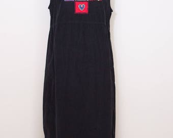 Corduroy  jumper, black, with wonderful appliquéd  Christmas design. 100% Cotton, really soft