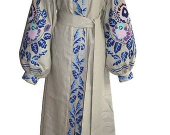Kaftan Dubai Dress Kaftan Linen Robe Abaya Dress Ukrainian Dresses Custom Bohemian Custom Boho Dress Vyshyvanka Vishivanka Clothing gift
