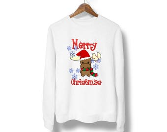 Merry Christmas sweater,Ugly Christmas sweatshirt,Rudolph ugly sweater,Funny Christmas party sweatshirt, Xmas gift,ugly Christmas Sweater M7