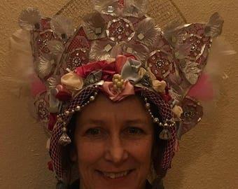 mardi gras headdress fantasy beltane party carnival samba kokoshnik masquerade imbolc witch green man pagan dark goddess crown moon costume