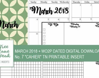 March 2018 Month + Dated WO2P Printable TN - Cahier Size