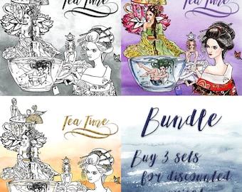 Tea Time Clip Art | Hand Drawn Graphics | Illlustration, Digital Cliparts | Girl Clip Art | Watercolour Clip Art | Woman with Tea Clip Art