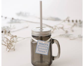 Black cup, Glass tumbler, Party tumbler, Cup with straw, Drinking jar, Christmas tumbler