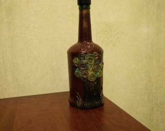 Bottle with flowers and tree, vase, decor for home, gift for everybody