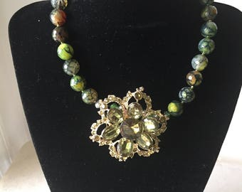 Agate multi  colour round beaded necklace with matching broach in the middle