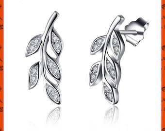 Leaf Stud Earrings, stud earrings Ear Climber - Ear Crawler - Ear Cuff - Silver Ear Climber - Hammered Ear Climber