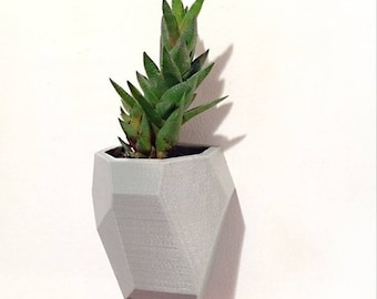 Geometric faceted wall planter, 3D printed planter, floating planter, cute white planter, geometric planter, cute planter, wall planter,