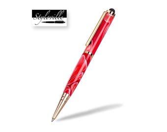Red pen, ballpoint pen, writing pen, twist pen, Handmade pen, best office gift, Christmas gift.