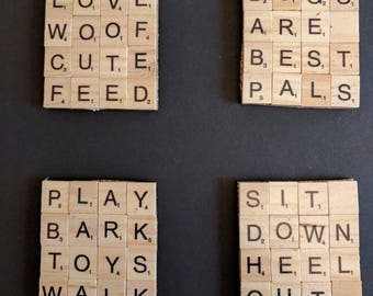 Set of 4 DogThemed Scrabble Coasters on cork backing