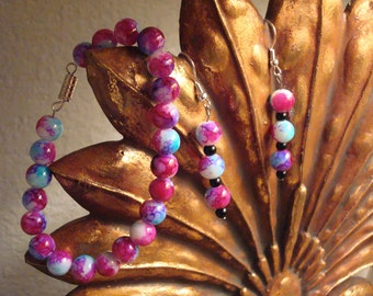 Cotton Candy Hand Made Beaded Bracelet & Earrings Set