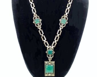 Sterling  necklace - Marcasite and Chrysoprase Art Deco