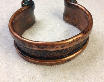 Handmade hammered copper cuff