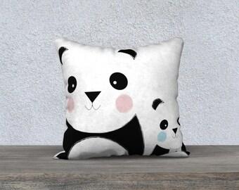 Decorative cushion cover, pillow for kids, decor, illustration, black, white, pink, blue, cushion, pillows, panda