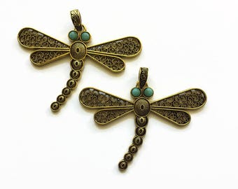 Dragonfly Pendant, Antique Brass Filigree Pendant, 85 mm Dragonfly Pendant