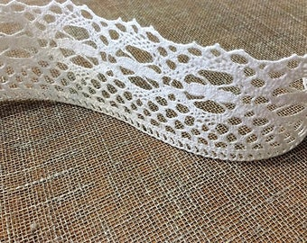 White Linen Lace by the Yard Rustic Lace Linen dress Supplies Curtains Table Runner Natural Linen Lace for DIY projects Eco friendly Vintage
