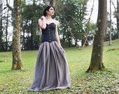 Gothic wedding skirt - Bohemian romantic dark princess grey chiffon long skirt - Medieval skirt - Gothic wedding dress