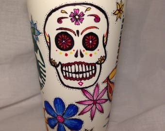 Reusable Coffee Cup w/ Day of the Dead design