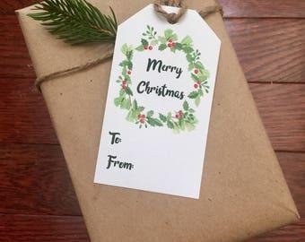 Christmas Gift Tag Printable Gift Tag Sheet Instant Download Christmas Wreath Merry Christmas