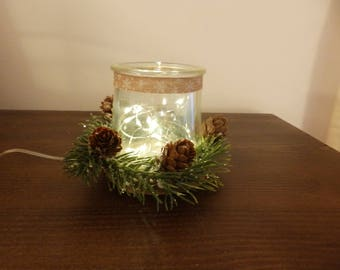 Rustic Christmas votive candle holder, Christmas decorations, holiday decorations, glass candle holder, rustic Christmas decorations