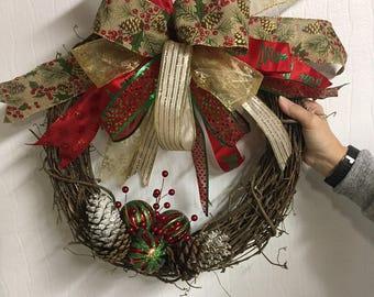 Grapevine Pinecone Wreath