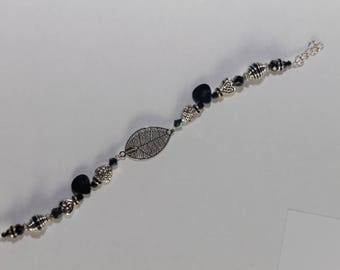 Leaf and heart black and silver Swarovski Crystal bracelet adjustable