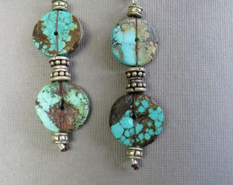 Natural Turquoise Discs Accented by Indian Silver Beads