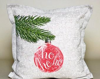 Pillow Cover Christmas Decor HO HO HO Ornament, Christmas cushion, Christmas gift, 16''x16'', 100 % linen
