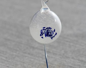 Hand Blown Glass Ornament - White and Cobalt Blue Twist