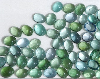 Brazilian Tourmaline Lots, Pale Blue Indicolite or Green Tourmaline Cabochon, approx. 6 x 8mm Oval, Brazil, C1149