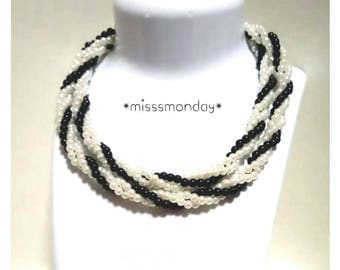 Elegant Black and White Pearl Beads Handmade Long Necklace Souvenir Made in Thailand
