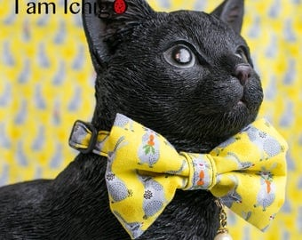 Rabbit print cat bowtie / collar in yellow with a pearl charm