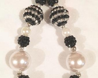 Black & Pearl Chunky Beads Wearable Keychain