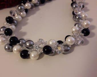 black, white & gray necklace