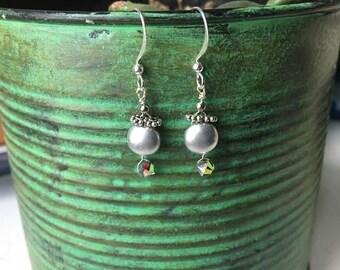 Dainty silver hand wire wrapped earrings