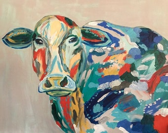 Abstract cow, colorful cow painting, 16x20, colorful cow canvas, multicolor cow, metallic cow painting, orange and teal cow painting