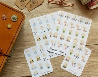 Mini cute blonde Girls, planner stickers, TN, Filofax, Erin Condren-To do
