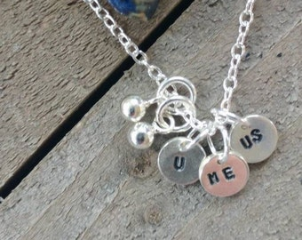 """Sterling Silver Hand stamped """"U Me Us """" charms and Necklace"""