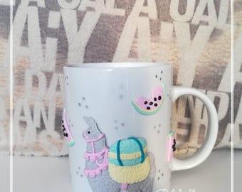 Lama watermelon mug