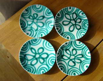 Set of 4 hand-painted plates, art ceramic.